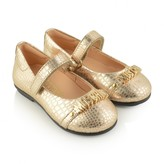 Moschino MoschinoGold Reptile Skin Leather Ballerinas