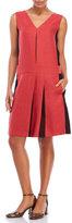 Hache V-Neck Pleated Color Block Dress