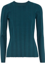 Milly Ribbed Stretch-Knit Top