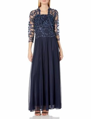 Cachet Women's Sequin Dress with 3/4 Sleeve Lace Bolero