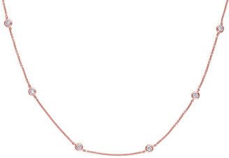 Genevive 14K Rose Gold Over Silver Cz 36In Necklace