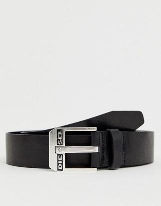 Diesel logo buckle leather belt in black