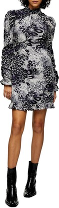 Topshop Animal Print Long Sleeve Minidress