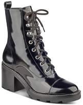 Marc Fisher Wanya Patent Leather Block Heel Combat Booties