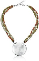 """Robert Lee Morris Color Gestures Hammered Texture Circle Mixed Bead Pendant Necklace, 18"""" + 2"""" Extender"""