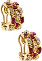 Chopard 18k Diamond & Ruby Half-Hoop Clip Earrings