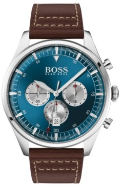 BOSS Men's Chronograph Pioneer Brown Leather Strap Watch 44mm