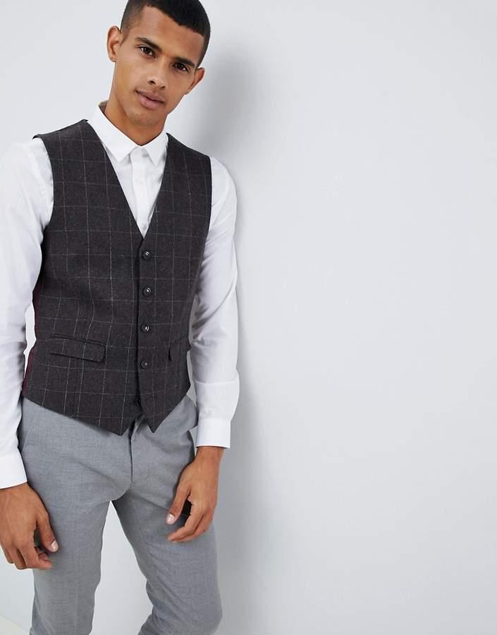 Burton Menswear Slim Waistcoat In Brown Check