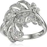 Amazon Collection Sterling Feather Diamond Ring (0.13 cttw, I-J Color, I2-I3 Clarity), Size 6