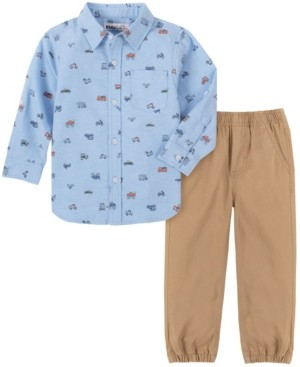 Kids Headquarters Baby Boys Printed Oxford Woven Shirt with Twill Jogger Pant Set