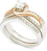 Macy's Diamond Bridal Set (3/4 ct. t.w.) in 14k White Gold with Rose Gold-Plating
