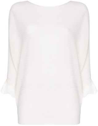 Chloé Lace-Trimmed Ribbed-Knit Jumper