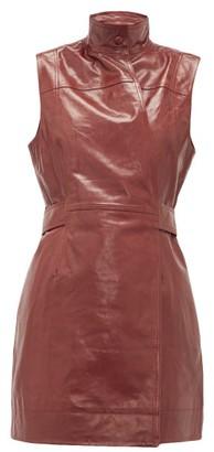 Ganni Sleeveless Leather Wrap Dress - Burgundy