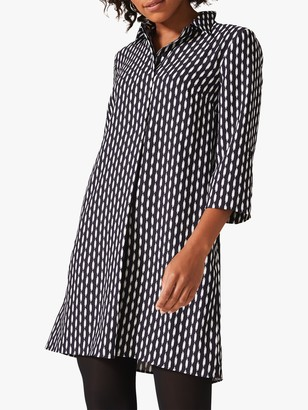 Phase Eight Ikat Print Shirt Dress, Navy/Ivory