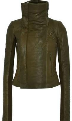 Rick Owens Cropped Coated-leather Biker Jacket