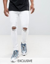 Jaded London Super Skinny Jeans In White With Knee Rips
