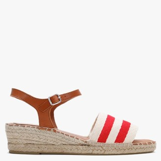 Carmen Saiz Red & White Canvas Nautical Low Wedge Espadrille Sandals