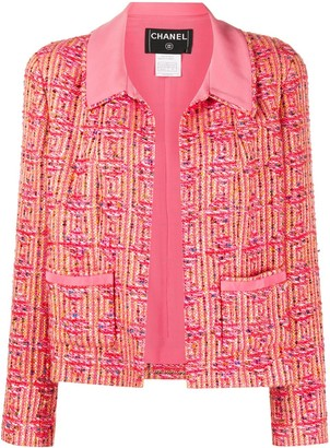 Chanel Pre Owned Tweed Open-Front Jacket
