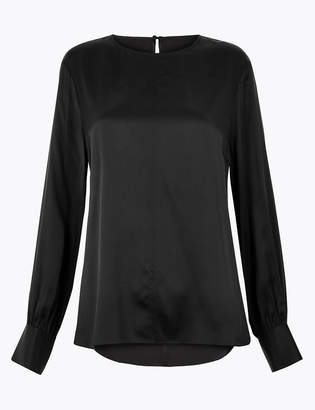 AutographMarks and Spencer Pure Silk Blouson Sleeve Shell Top