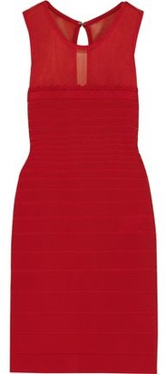 Herve Leger Tie-back Mesh-paneled Bandage Mini Dress