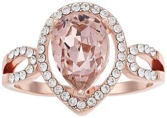 Brilliance+ Brilliance Rose Gold Tone Vintage Rose Pear Shape Swarovski Crystal Ring