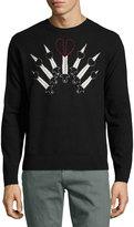 Valentino Love Blade Wool-Cashmere Crewneck Sweater, Black