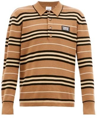 Burberry Rigby Icon-stripe Wool Polo Shirt - Beige