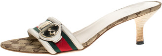 Gucci Tricolor Leather Trim And Web Canvas Open Toe Sandals Size 39.5