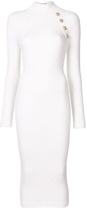 Balmain High Neck Knitted Midi Dress