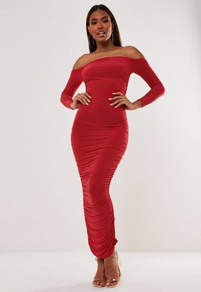Missguided Red Bardot Slinky Ruched Midaxi Dress