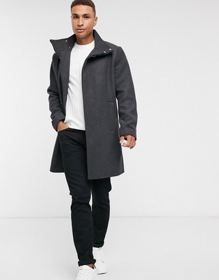 ASOS DESIGN wool mix overcoat with funnel neck in charcoal