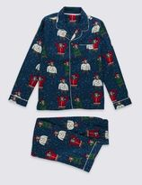 Marks and Spencer Pure Cotton Bailed Bear Pyjamas (1-16 Years)