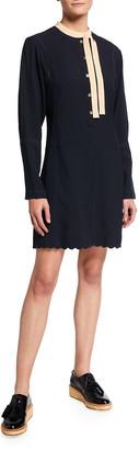 Chloé Long-Sleeve Silk Self-Tie Neck Dress
