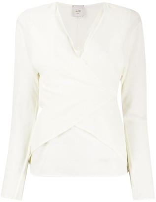 Alysi Wrap-Style Front Back Tie Blouse