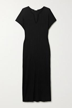 Skin Romee Ribbed Pima Cotton-jersey Nightdress - Black