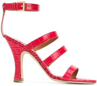 Paris Texas Croc-Effect Embossed 65mm Sandals