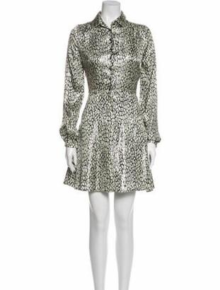 Saint Laurent Silk Mini Dress Metallic