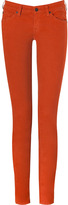 7 For All Mankind Seven The Olivya Light Drill Deep Orange Low Rise Skinny Jeans