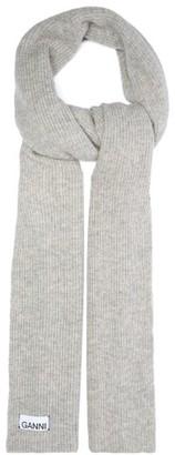 Ganni Ribbed Wool-blend Scarf - Grey