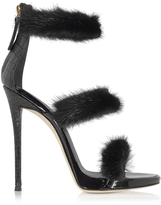 Giuseppe Zanotti Black Patent and Croco Embossed Leather High Heel Sandals w/Fur