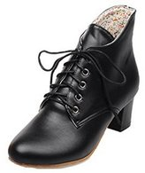 ENMAYER Women's Closed Round Toe Pu Soft Material Thick Heel Lace-Up Boots 7 B(M) US