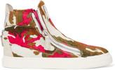 Giuseppe Zanotti Printed calf hair high-top sneakers
