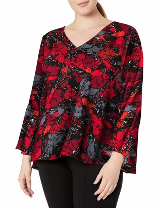 Rebel Wilson X Angels Women's Plus Size Swing Sleeve Top W/Deep V Neck