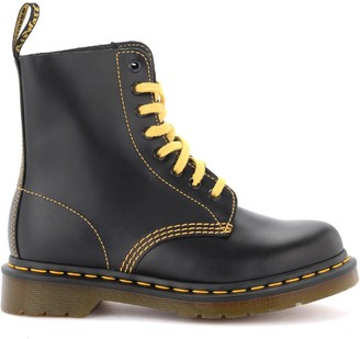 Dr. Martens Pascal Model 8-holes Combat Boot In Black Leather With Yellow Stitching
