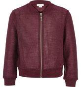 River Island Girls burgundy metallic knit bomber jacket