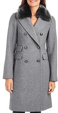 Vince Camuto Faux Fur Trim Double-Breasted Coat