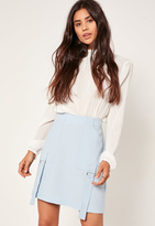 Missguided Blue Parachute Detail Crepe Mini Skirt