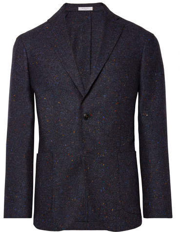 Boglioli Storm-Blue K-Jacket Slim-Fit Donegal Virgin Wool-Blend Blazer