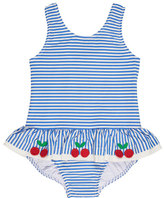 Florence Eiseman Skirted One-Piece Striped Seersucker Swimsuit, Blue, Size 2T-6X