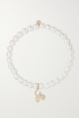 Sydney Evan Luck And Protection 14-karat Gold, Pearl And Diamond Bracelet
